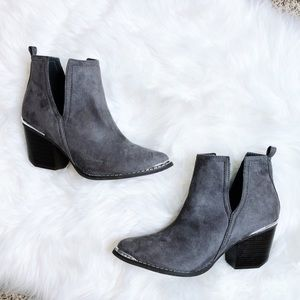 NEW🎉 Gray Ankle Short Steele Pointed Tow Boots